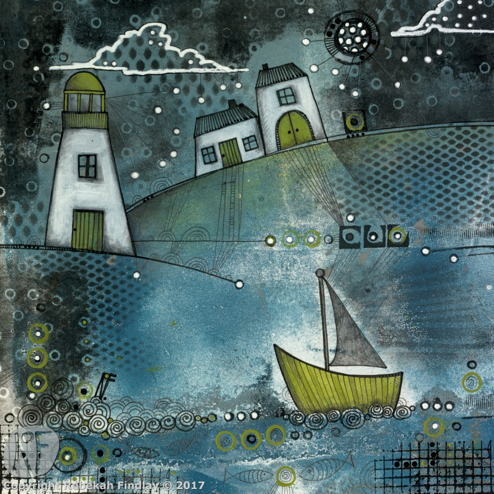 Lighhouse & Boat - SOLD