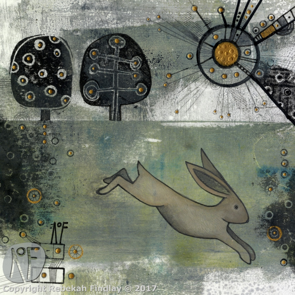 Hare & Two Trees - SOLD